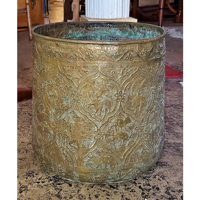 18th Century Ornate Middle Eastern Bronze Bin For Sale - Image 9 of 13