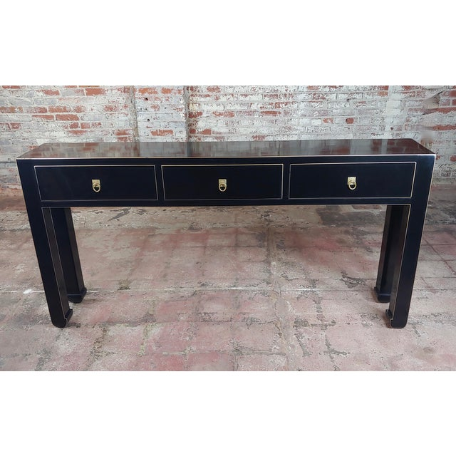 Americana Fine Black Lacquer Console Table With 3 Drawers For Sale - Image 3 of 10