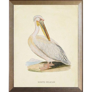 White Pelican in Distressed Metallic Frame 25x31 For Sale
