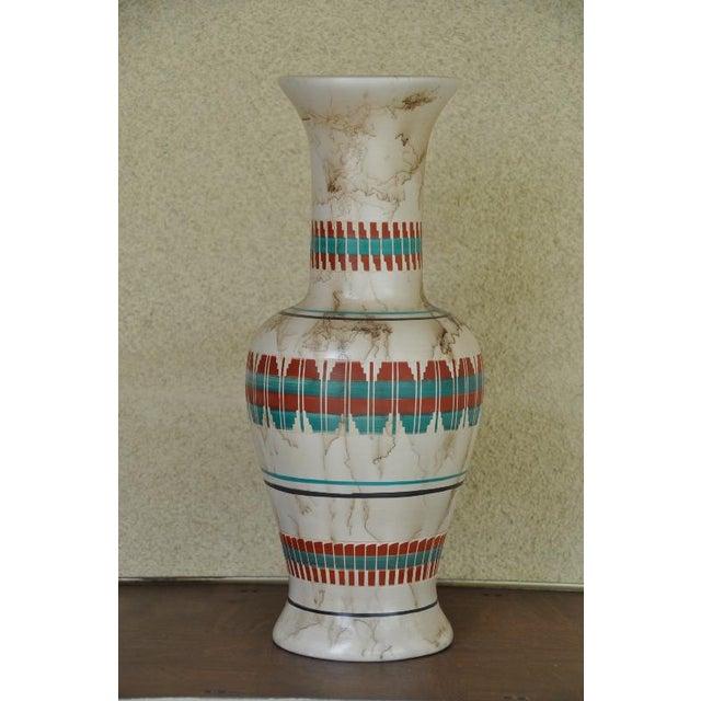 "Red 18"" Tall Navajo Native American Arlene John Horsehair Pottery Vase For Sale - Image 8 of 8"
