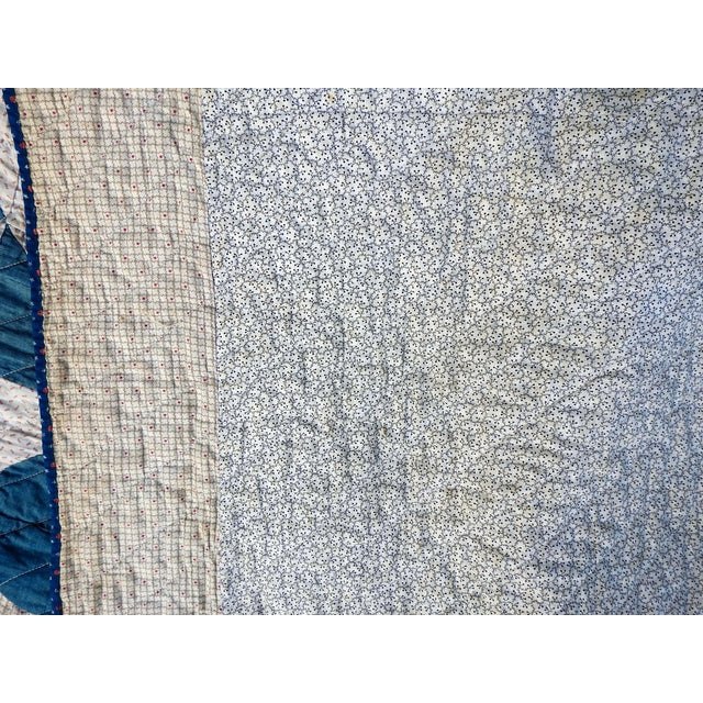 White Antique Blue & White Graphic Quilt For Sale - Image 8 of 10
