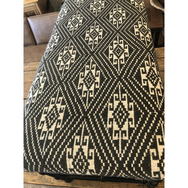 Mid-Century Modern Mid-Century Faux Bamboo Bench W Indonesian Jacquard Textile For Sale - Image 3 of 6
