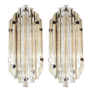 Pair of Mid-Century Modernist Sconces by Venini in Pale Amber Murano Glass For Sale