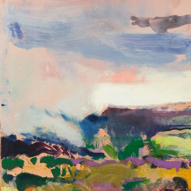 A substantial and vibrant trillium monotype landscape showing a view of the evening mist descending over the coastal hills...