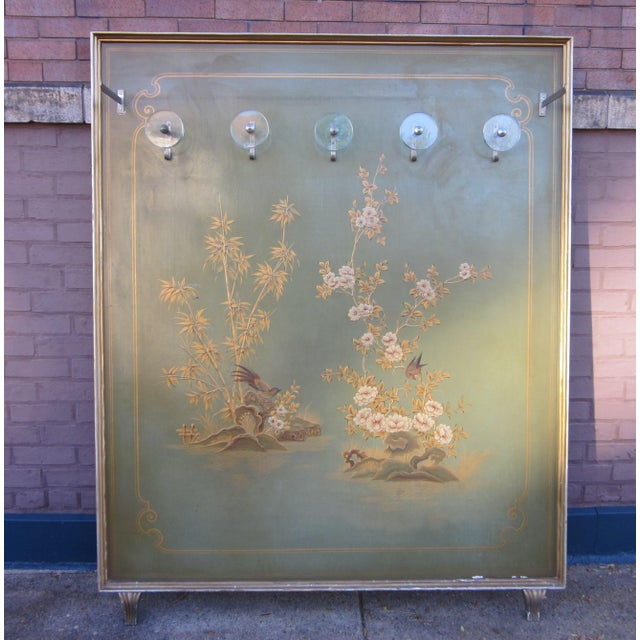 1920s Vintage Art Deco Chinoiserie Italian Atelier Green Painted Hall Tree Coat Rack For Sale - Image 13 of 13