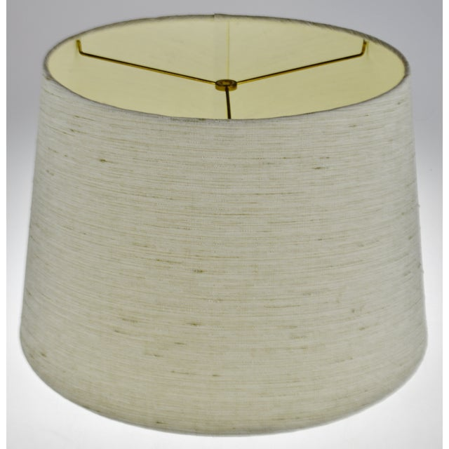 Mid-Century Modern Vintage Linen Fabric Drum Lamp Shade For Sale - Image 3 of 11