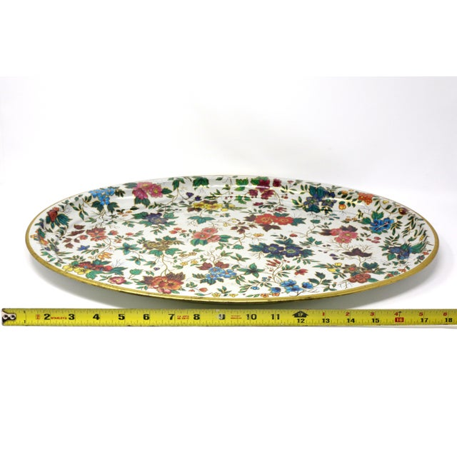 Vintage Chintz Floral Metal Tray by Daher For Sale - Image 10 of 11