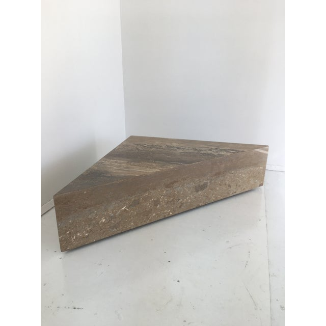Italian Two Triangular Offset Stone Coffee Table - 2 Pieces For Sale - Image 11 of 13