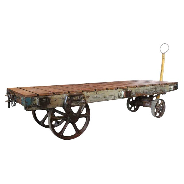 Old Industrial Cart Coffee Table: Industrial Vintage Factory Cart Coffee Table