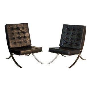 Mies Van Der Rohe Style Black Leather Lounge Chair - a Pair For Sale