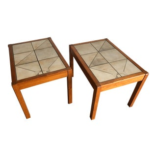 Vintage Mid Century Danish Modern Gangso Mobler Tile Top Side Tables- a Pair For Sale