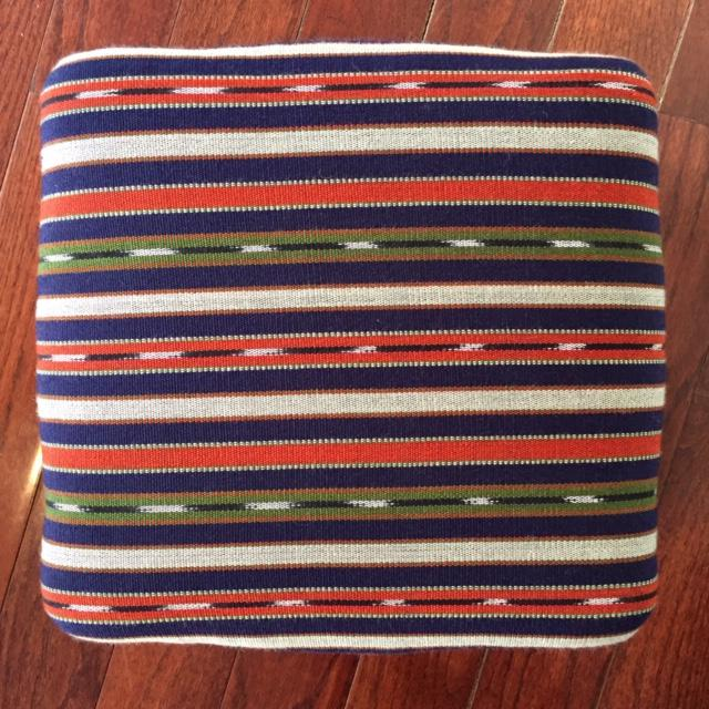 19th Century Vintage French Wood and Striped Fabric Footstool For Sale In New York - Image 6 of 9