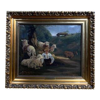 Albert Rüdiger (1838-1925) Shepard and His Flock Painting For Sale