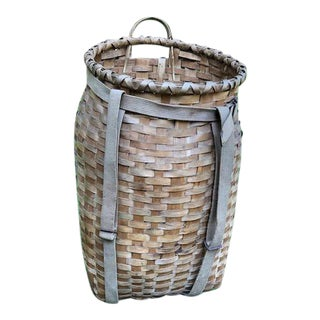 Tall Antique Creel or Fisherman's Woven Wicker Basket With Canvas Straps For Sale