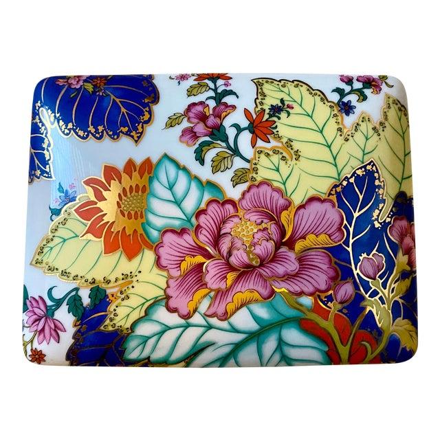 Vibrant Vintage Japanese Tobacco Leaf Covered Porcelain Box For Sale