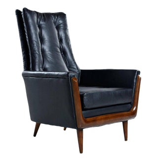 Adrian Pearsall Style Leather High Back Mid Century Modern Arm Chair