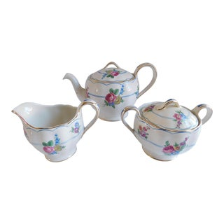 Mid Century Grindley England Teapot, Sugar and Creamer Set For Sale