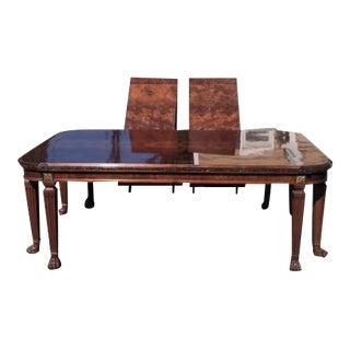 Henredon Burled Walnut & Marble Dining Table