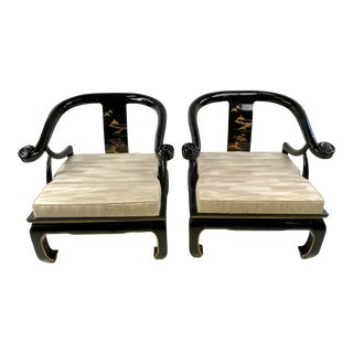 1960s James Mont Style Black Lacquer Asian Modern Chinoiserie Ming Chairs - a Pair For Sale
