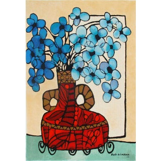 "Avi Ben Simhon ""Blue Flowers"" Signed Serigraph For Sale"