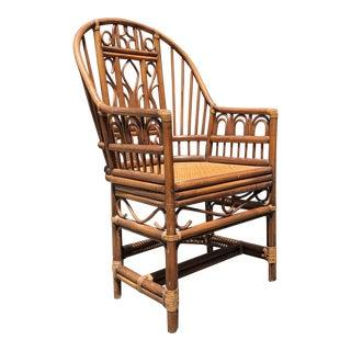 Vintage Brighton Pavilion Style Rattan Cane Chair For Sale