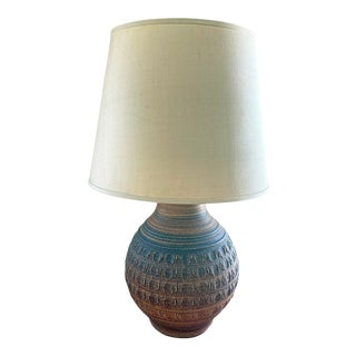 1970s Bob Kinzie/Phil Barkdoll Mid-Century Modern Stoneware Table Lamp With Shade For Sale