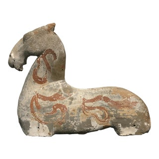 Han Dynasty Painted Pottery Recumbent Horse For Sale