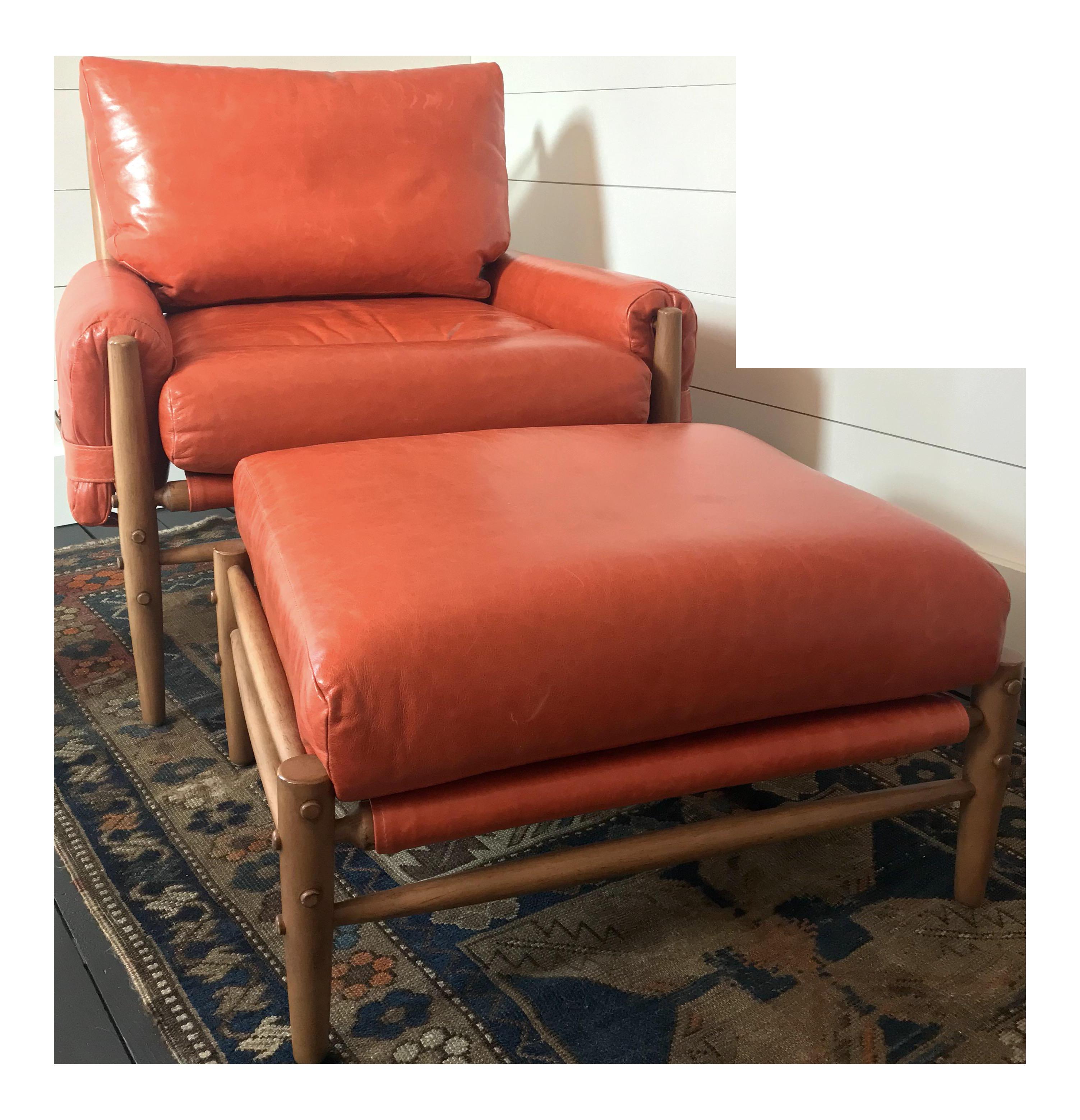 Anthropologie Rhys Lounge Leather Chair U0026 Ottoman