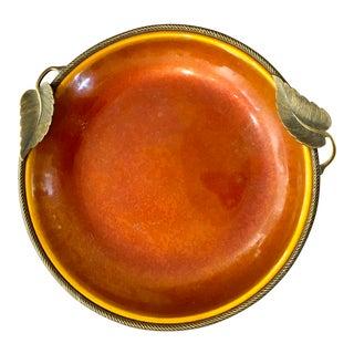 Orange Enamel on Metal Dish