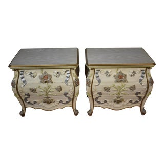1960s French Carved Solid Mahogany Hand Painted Nightstands - a Pair For Sale