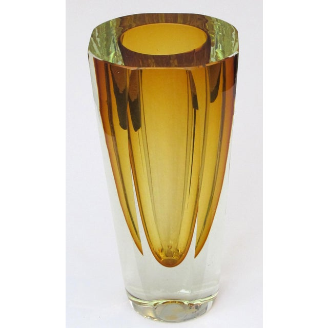 this stunning art glass vase with faceted tapering body made in the Sommerso (submerged) technique, with gold bowl encased...