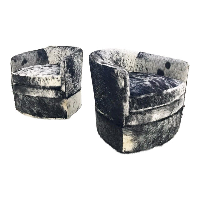 Vintage Milo Baughman Wheeled Restored and Reupholstered in Black and White Speckled Brazilian Cowhide Slipper Chairs - a Pair - Image 1 of 9