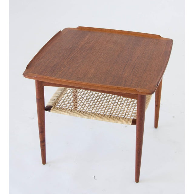 Danish Modern Poul Jensen for Selig Square Side Table With Cane Shelf For Sale - Image 3 of 8