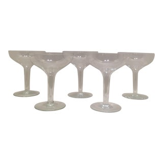 Mid-Century Modern Hollow Stem Champagne Glasses - Set of 5