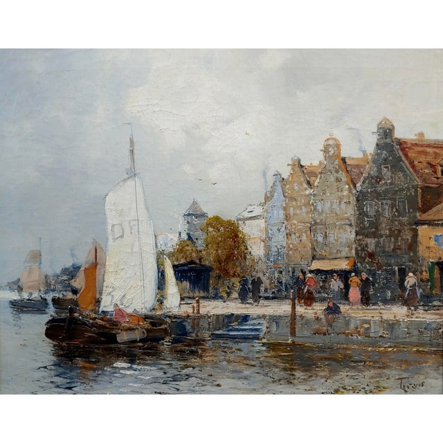 Impressionist Old Amsterdam With Boats - 19th Century Dutch Impressionist Oil Painting For Sale - Image 3 of 11