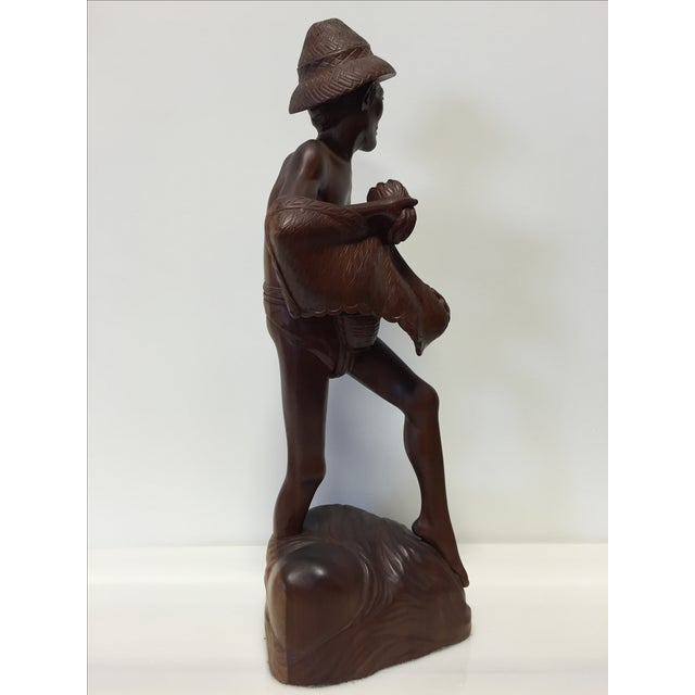Rosewood Hand Carved Asian Fisherman Statue For Sale In Charlotte - Image 6 of 7