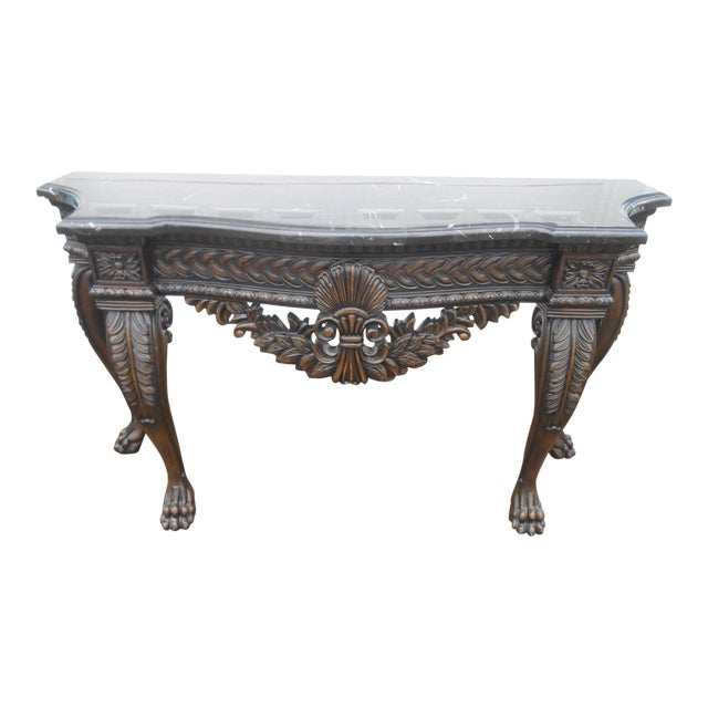 French Rococo Style Carved Wood & Marble Top Console Table - Image 1 of 8