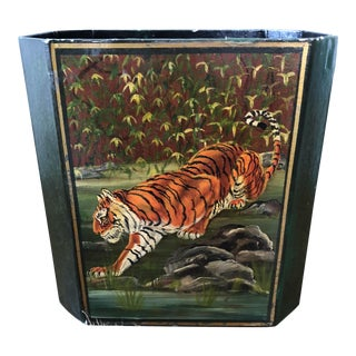 donAndres Hand Painted Tiger Wastebasket