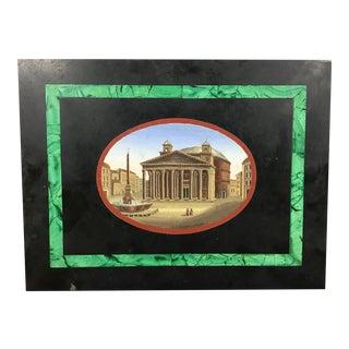 19th Century Italian Grand Tour Micro Mosaic Slate Plaque For Sale