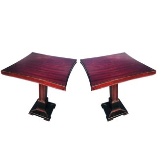 1930s Federal Mahogany Pedestal End Tables - a Pair For Sale