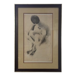 Charcoal on Paper Nude Portrait - Gene Szafran (1941-2011)