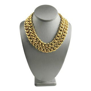 80s Nos Designer Couture Double Curbed Chain Necklace For Sale