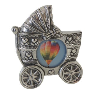 Baby Carriage Pewter Picture Frame For Sale