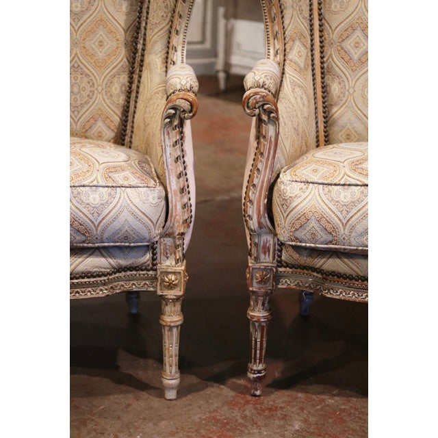 Beige 19th Century Louis XVI Carved and Painted Ear Shape Fauteuils - a Pair For Sale - Image 8 of 13