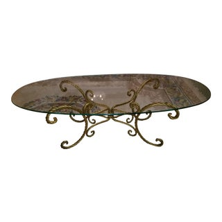 Vintage Italian Gold Rope and Tassel Coffee Table For Sale