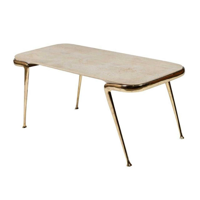 Metal Marble and Sculptural Brass Coffee Table by Cesare Lacca For Sale - Image 7 of 7
