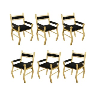 21st Century Handmade Solid Hardwood Frame & Gold Gilded Finish Chairs by Troy Smith For Sale