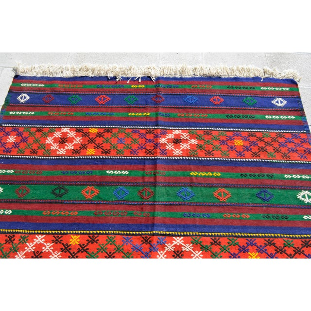 Turkish Hand-Woven Kilim Rug - 5′10″ X 10′11″ For Sale In Raleigh - Image 6 of 10