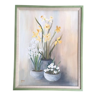 Vintage Mid-Century Irene Still Life with Flowers Painting For Sale