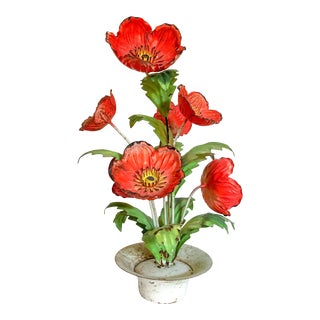 Tole Poppy Arrangement For Sale
